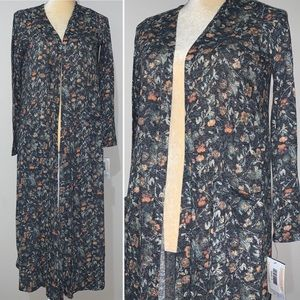 LuLaRoe Sarah Floral Long Sweater Cardigan Sz S